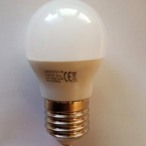 E27 LED Pære 12V/5W, varm/hvid, diameter 45mm