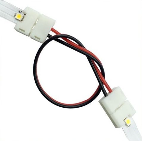 Connector med ledning til fleksible led bånd 120 dioder smd 8mm