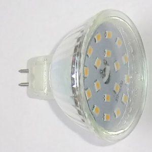 3W12V 18LED pære MR16 varm/hvid med glas