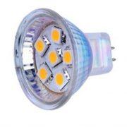 6 SMD LED MR11/G4 spot, 2Watt, AC/DC 12/24V - Varm/Hvid