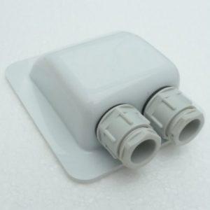 Kabel gennemføring med to indgange- HVID
