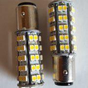 2 x Auto LED pære BA15d til bremse/positions lys, VARM-HVID