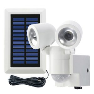 Duo LED projektør m. sensor og solcelle_HVID