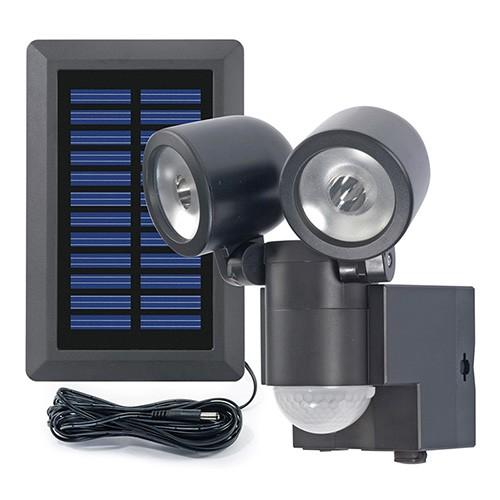 Duo LED projektør m. sensor og solcelle_Sort