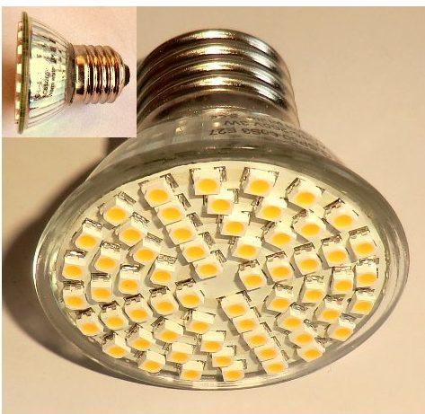 3W 230V/60 SMD LED PÆRE E27 Fatning, varm/hvid (85-265VAC)