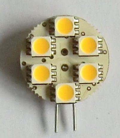6 SMD LED G4 SPOT/1,0W-Varm/Hvid Type P