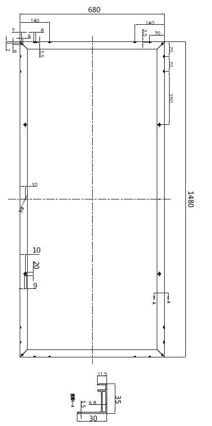 Dimension solar module 150w
