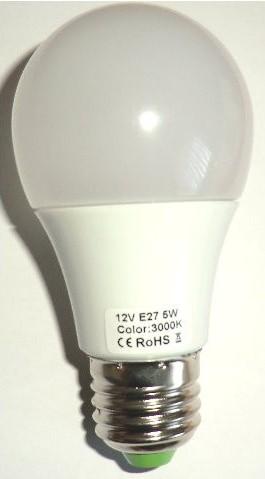 LED Pære 12V/5W, E27, varm/hvid