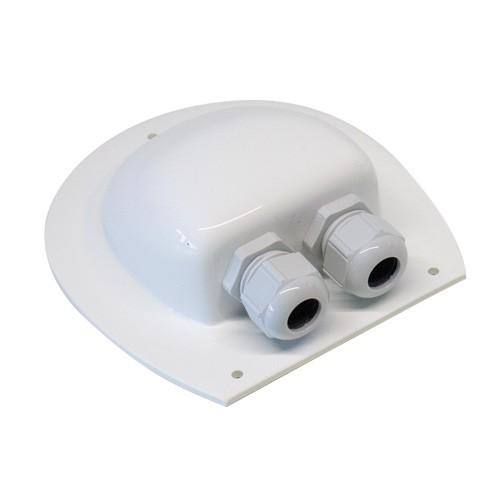 Kabel gennemføring til campingvogn, flad tag - 2 indgange HVID