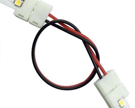 Connector med ledning til fleksible led bånd 120 dioder smd 8mm
