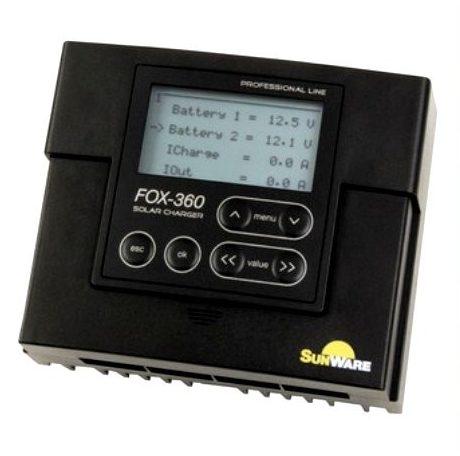 Laderegulator Sunware FOX-360, 20A/12V, 24V til 2 batterier