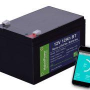 12V 12Ah LiFePO4 batteri mAPP overvågning