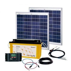 Solcelleanlæg, generator kit Solar Rise TWO 2.0, 100W/12V, med batteri